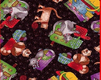 Quilting Sewing Knitting Cats on Black Fabric Retired Out of Print FQ