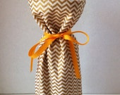 Wine Gift Bag - gold and cream metallic cotton chevron wine tote with French-inspired canvas lining, ribbon tie closure