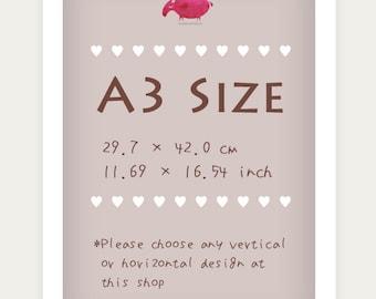 A3 size art print (A3: 29.7 x 42cm or 11.69 x 16.54 in)
