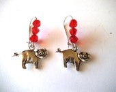 Silver Pig Dangle Earrings, Red Crystals, Animal Jewelry, Farm Animal Jewelry, Pig Jewelry, Gift Jewelry