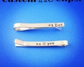 Custom Tie Clip, Handstamped Tie Bar, Father's Day Gift, Double-Sided Tie Clip, Thick Aluminum Tie Bar, Grooms Gift, Groomsmen, Gift for Dad