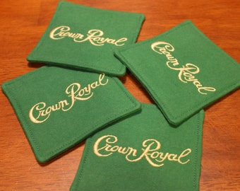 Crown Royal Apple Green Fabric Coasters - Set of 4, Gifts under 20, Man Cave, Groomsmen Gifts, Coaster Sets, Crown Royal Gift Sets, Barware