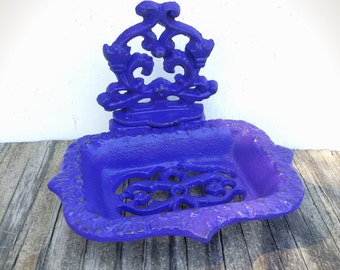 BOLD girly grape purple business CARD HOLDER soap dish // ornate floral // bathroom office decor // victorian cottage shabby chic