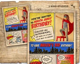 VINTAGE Superhero birthday invitation / Superhero party invite  - DIY vintage comic book printable invitation