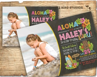 Luau birthday invitation - Summer pool party invitation -  Hawaiian Luau party invite - Summer birthday party invitation - Chalkboard