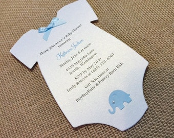 10 Baby Elephant  Baby Shower Invites, Baby Onesie Shower Invitations, Baby Onesie, Elegant Pearl, Baby Onesie Card, Customize Your Color