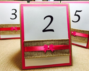 Customize Any Color, Table Number Card, Double Sided, Burlap, Bow and Elegant Pearl, Wedding, Bridal Shower, Baptism, Birthday Party