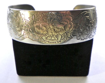 Kirk Stieff USA Pewter Cuff Bracelet January Flower of the Month  Carnation  1960s