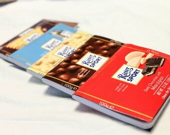 Ritter Sport Milk Chocolate, Butter Biscuit Cookie, Hazzelnut Upcycled Mini Notebook, Journal, Quote Book, Memo Pad, Notepad for Planner