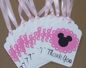 Set of 10 Minnie Mouse Thank You Tags, Handmade, Stamped