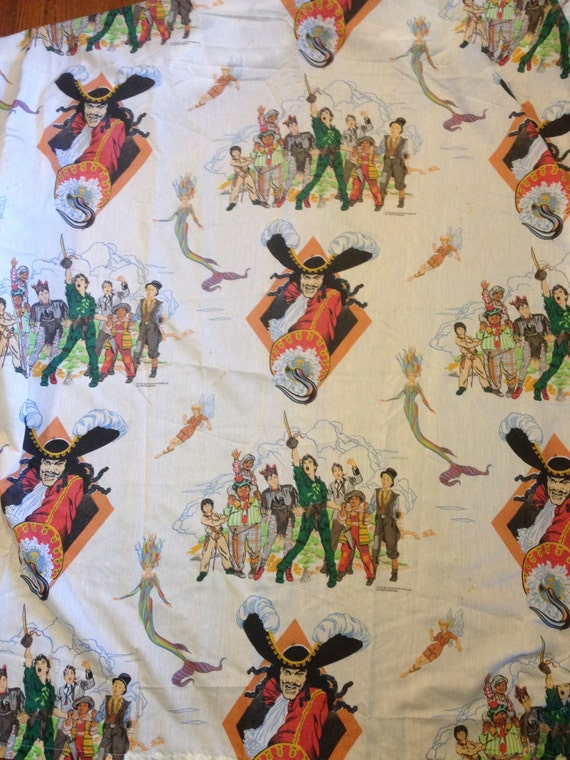 Peter Pan bed sheet set full size 90s tinkerbell mermaids Captain Hook ...