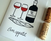 French Food Card. Kitchen Art. Paper Note Card. French Party Invitation. Wine and Baguette. Greeting Card. Bon Appétit.