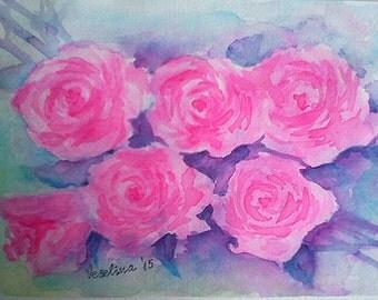 Watercolor flowers. original watercolor painting, watercolor roses, painting roses, aquarelle, watercolor artwork, pink roses, wall decor