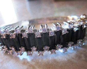 Vintage Stunning Black and CZ Stone Hinged Bangle Bracelet in Bright Silver Setting, Safety Closure, Wedding, Bridesmaid. Holiday Bracelet