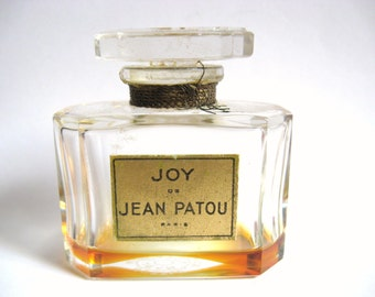 DECO Vintage 1940s Joy de Jean Patou Paris France 1 Ounce Crystal Glass Perfume Bottle Nouveau Gatsby Flapper Vanity Table Display