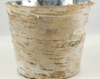 "Birch Bark Vase 6"" x 3.5"" Tall Rustic  Vase Wood Wrapped Planter Wedding Centerpiece Birch and Zinc Flower Pot"