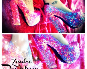 "Glitter ""Cotton Candy"" Chunky Platform Pumps Heels"