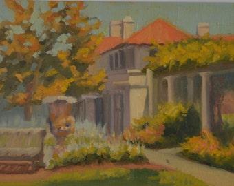 Los Gatos - Red Tile Roof - California - Villa - Arbor - Plein Air - Original Oil Painting - Historic - Home - Peaceful - Garden - Restful