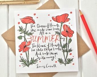 Alice in Wonderland Greetings Card - Birthday Card - Alice in Wonderland Quote - Blank Greetings Card - Red Poppies
