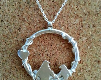 Sterling Silver Penguin Hoop Pendant Jewellery Penguin Pendant Silver Penguin Penguin Necklace