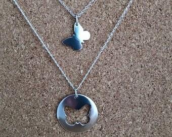 Butterfly necklace, Jigsaw Butterfly Pendant, Personalized Butterfly Jewelry, Jigsaw Necklace, Best Friend Gift