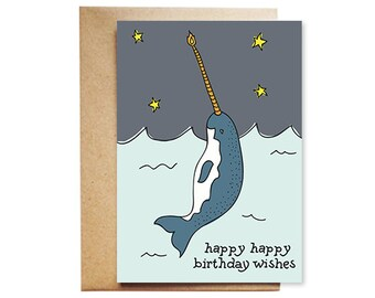 Happy Happy Birthday Wishes Narwhal Card