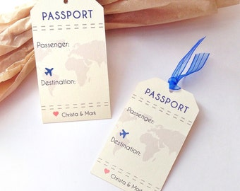 Luggage Tag Place Card Favor - Destination Wedding Table Name Cards - Place Setting Seating Cards - Set of 50 tags #157