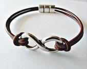 Infinity leather bracelet, infinity jewelry, love bracelet, leather jewelry, eternal love, mens brown bracelet, husband gift, bracelet homme
