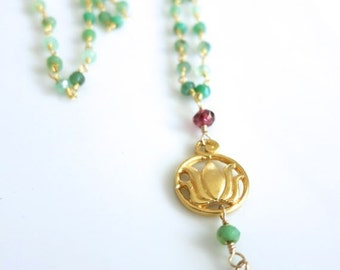 Chrysoprase Yoga Necklace pendant, Lotus Charm on Green Chrysoprase Necklace,layering boho coachella style,beachy chic, wirewrapped Yoga