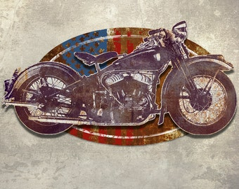Metal Wall Art Vintage Motorcycle Sculpture 24 Inches Wide