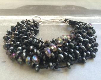 Hematite, Quartz and Sterling Silver Multistrand Bracelet
