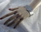 Large Chunky SILVER HEART CUFF Vintage Bracelet Silvertone Metal Love Romantic Jewelry Statement