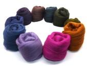 Merino wool tops - purple - blue - brown - blending - spinning - felting - fibre - 21 micron - 100g - 3.5oz - INCENSE
