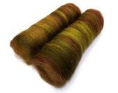 Spinning batts - 21 micron Merino, Firestar, Silk - brown, green - 100g/3.5oz- WOOD NYMPH