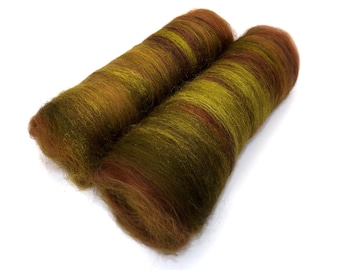 Spinning batts - 21 micron Merino, Firestar, Silk - brown, green - 100g/3.5oz- WOOD NYMPH