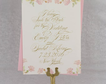 Save the Date Cards, Save the Date Wedding, Spring Wedding, Garden Wedding, Elegant - Floral Frame Save the Date Card
