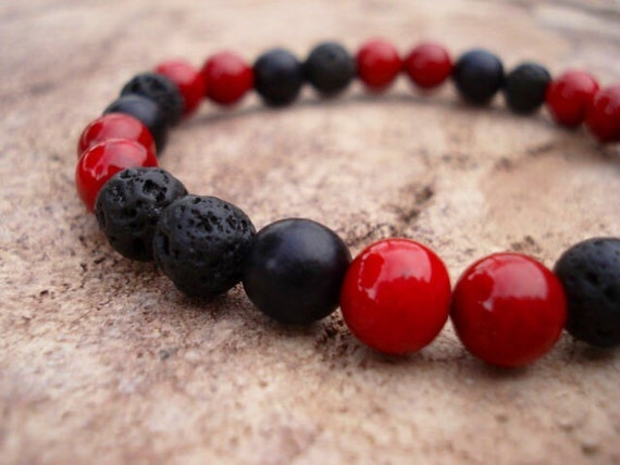 Mens Lava Bracelet, Black Bracelet, Women's Bracelet, Red  Bracelet, Wood Bracelet, Mala Bracelet, Stackable Beaded Stretch Bracelet