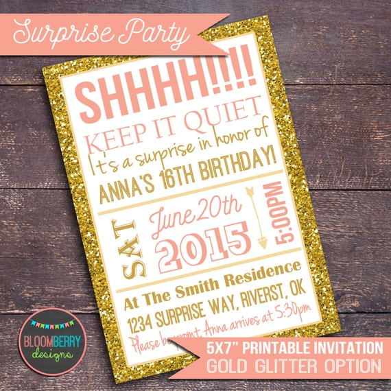 Surprise Party Invitation Girls Party By BloomberryDesigns