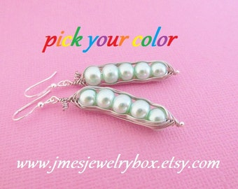 Five peas in a pod earrings - Choose your color! Made to order