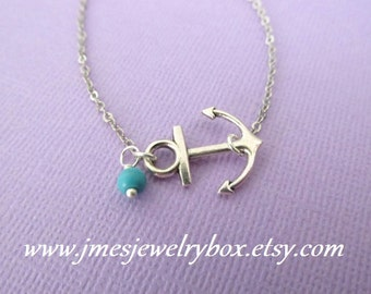 Sideways anchor necklace with turquoise bead