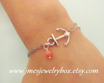 Silver anchor bracelet with coral bead (Adjustable)