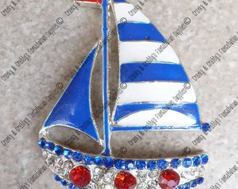 Sailboat Hair Bow Royal Blue White Gingham Check 4th Of July