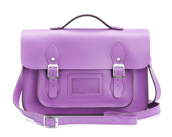 Large Wooster British Handmade Leather Satchel with Top Handle -  Pastel Violet