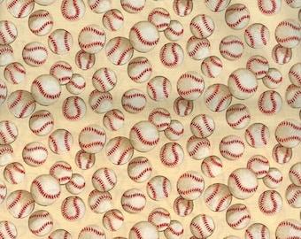 Baseballs on tan cotton fitted crib/toddler sheet