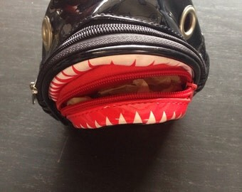 SALE Vintage Patent Leather Shark Pouch