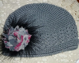 Chemo Gray Crochet Hat with Gray and Mauve Flower on a Black Maribou Puff