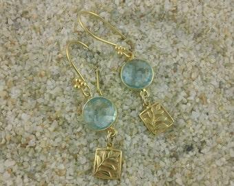 Fern III: Blue Topaz and Artisan-Made Gold Fern Charm Earring