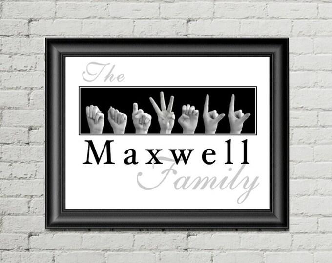 ASL Alphabet FAMILY Name Sign Language Personalized Print plus Digital Image for DIY Printing & Framing