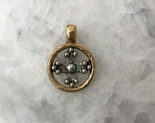 NEW...Cross W/ Bezel, Pendant, Gold, Silver, Necklace, 2 sided With Bail, Pewter, Jewelry Supplies
