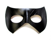 Black Canary Mask, Super Hero Inspired by Sara Lance of DC's Arrow, handmade in black leather with carved details for cosplay or costume